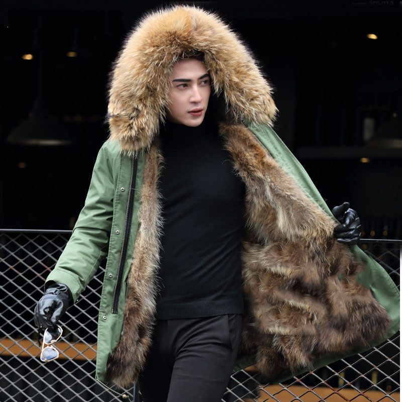 Removable raccoon fur liner warm winter jackets men large raccoon fur collar hooded parkas lovers natural fur lined coats