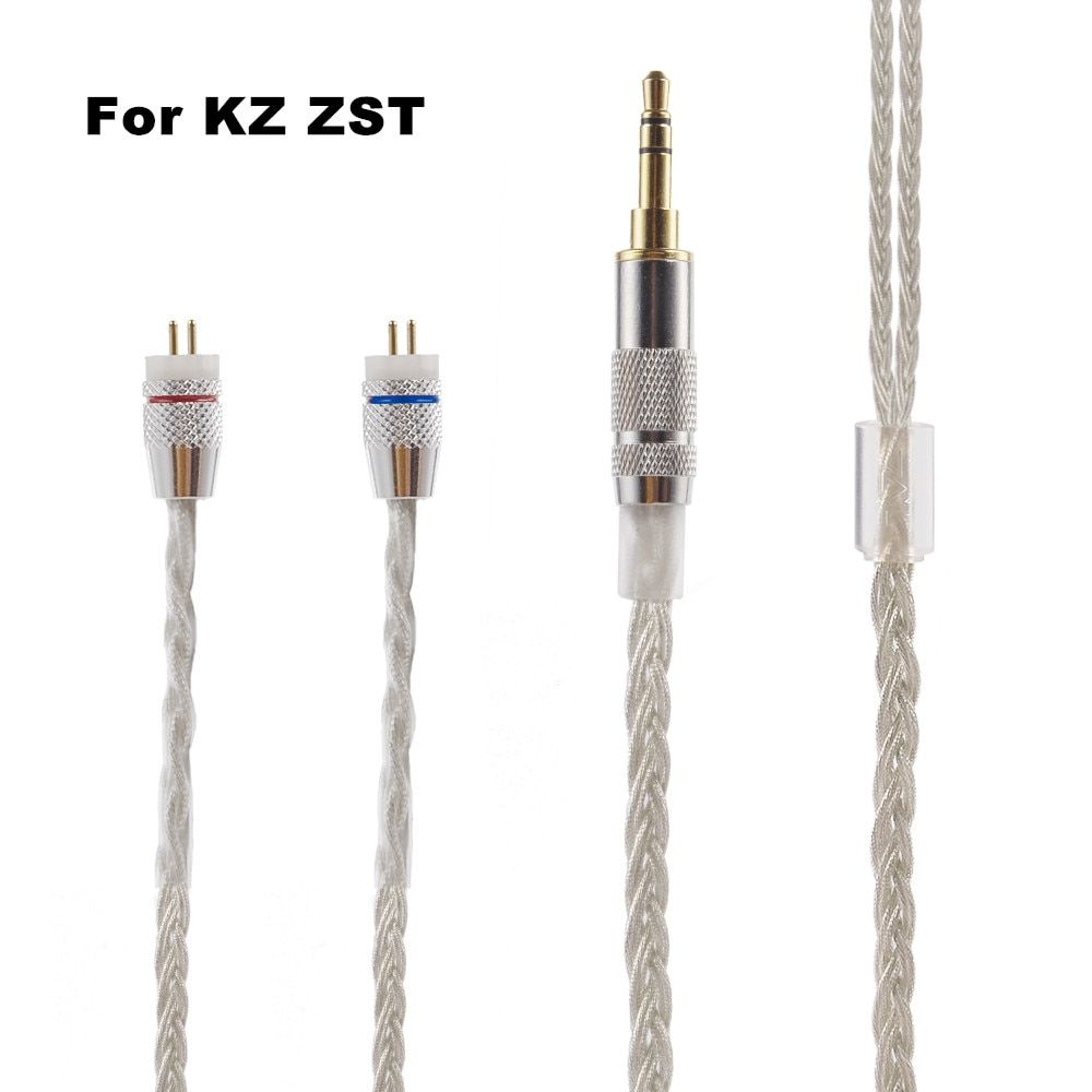 Newest KZ ZST ED12 ES3 Cable 2pin 0.75 mm Upgraded Silver Plated Cable Earphone Upgrade Cable For KZ EarphoneS KZ ZST ED12
