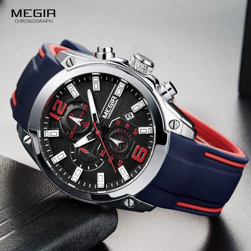 Megir Men's Chronograph Analog Quartz Watch with Date, <font><b>Luminous</b></font> Hands, Waterproof Silicone Rubber Strap Wristswatch for Man
