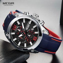 Megir Pria Chronograph Analog QUARTZ Watch dengan Tanggal, Luminous Tangan Karet Silikon Tahan Air Tali Wristswatch untuk Pria