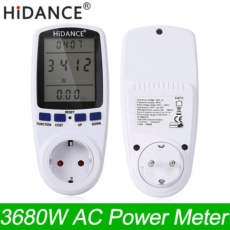 HiDANCE AC Power Meters 220v digital wattmeter eu energy meter watt monitor electricity consumption Measuring socket analyzer