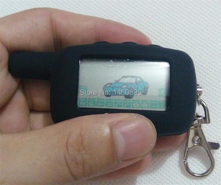 2-way LCD Remote Control Key Fob Chain Keychain with LOGO + Tamarack Silicone Key Case For Two Way Car Alarm System Starline A9