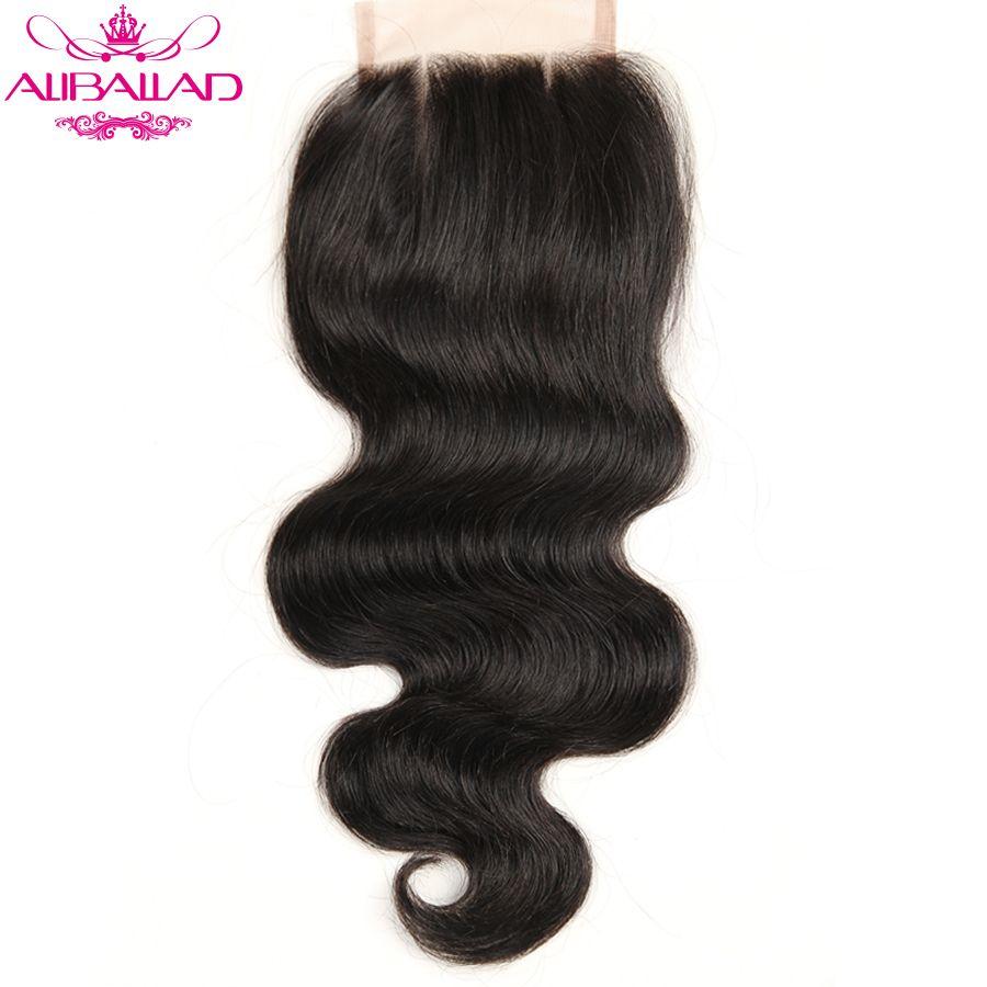 Aliballad Brazilian Body Wave Lace Closure Three Part 4X4 Natural Color Non-Remy Hair Closure 100% Human Hair