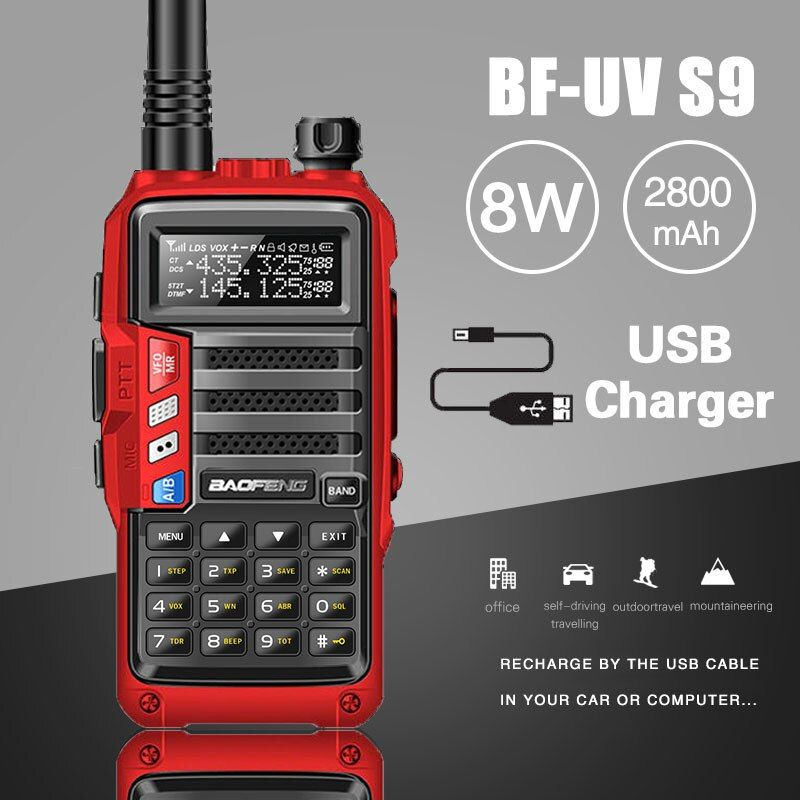 2018 BaoFeng UV-S9 Powerful Walkie Talkie CB Radio Transceiver 8W 10km Long Range Portable Radio for hunt forest city upgrade 5r