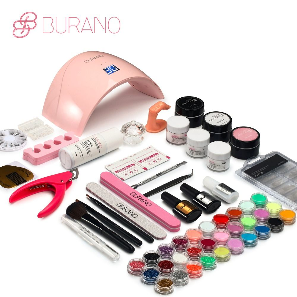 Burano new arrive acrylic nail art set UV/LED nail lamp Dryer acrylic nail kit set with lamp nail tools set 011