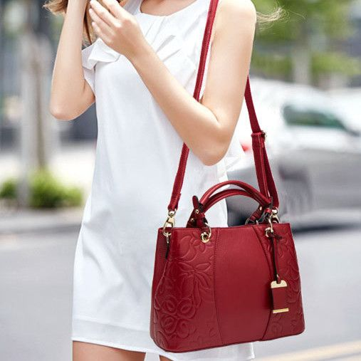 2018 novelty OL business genuine leather handbag for women elegant embossing one shoulder bag ladies cow leather handbags