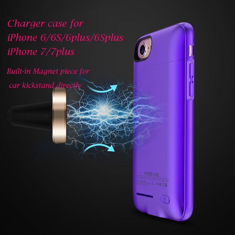 Chaude chargeur cas pour iPhone 6 6 S 6 plus 7 7 plus aimant intégré Mince Coque Arrière sans fil charge cas Externe Batterie power banque