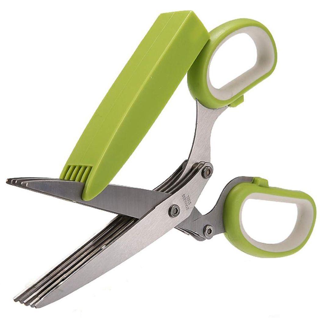 Best-seller ciseaux de déchiquetage de papier de bureau en acier inoxydable 5 lames ciseaux d'herbes outil de cuisine vert