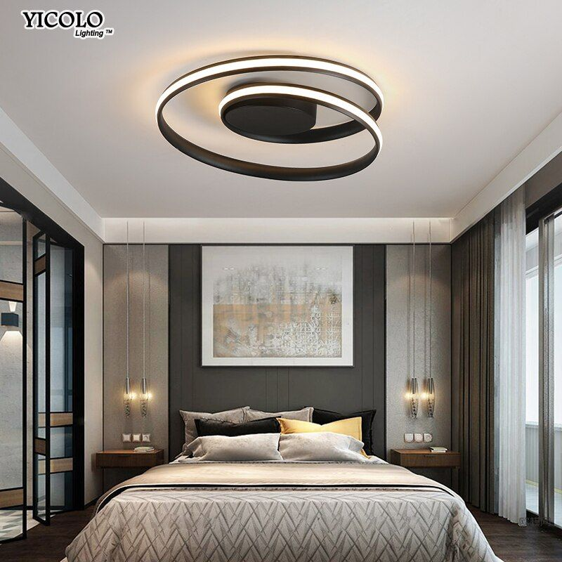 Modern Chandeliers LED Lamp For Living Room Bedroom Study Room White black color surface mounted lights Lamp Deco AC85-265V