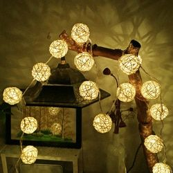 2M Rattan Ball LED String Light Warm White Fairy Light Holiday Light For Party Wedding Decoration Christmas Lights Garland