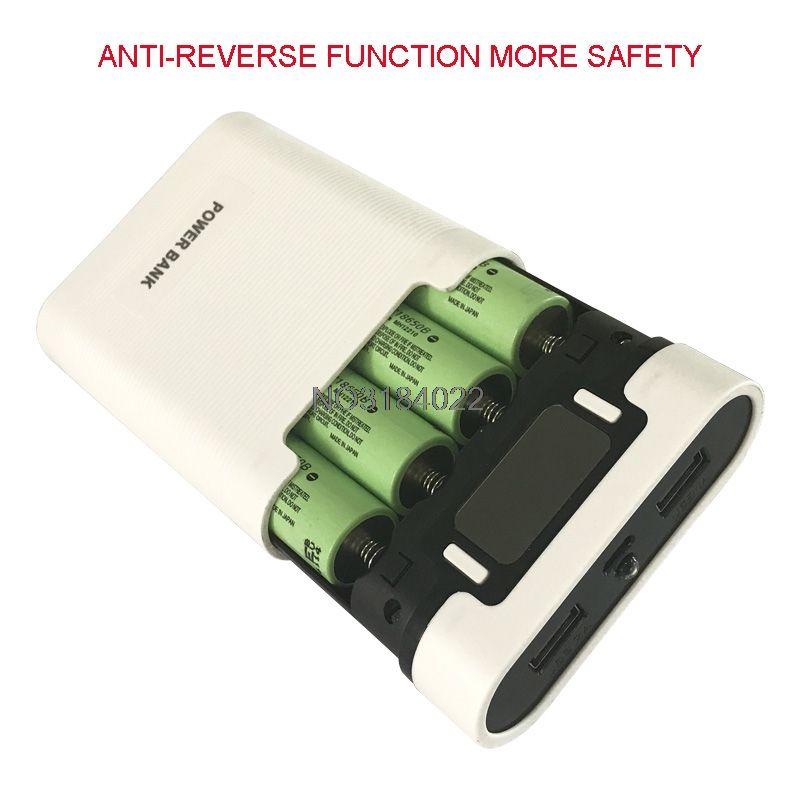 Double USB LCD Anti-inverse Portable Puissance Banque Boîte 4x18650 DIY Affichage Batterie Chargeur 5 V 2A Powerbank Cas Avec LED lampe de poche