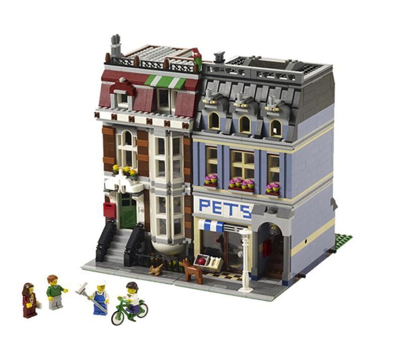 DHL 15009 City Street set Pet Shop Model Building Kits Blocks action bricks baby lovely toy 10218 DIY Educational Gift legoed