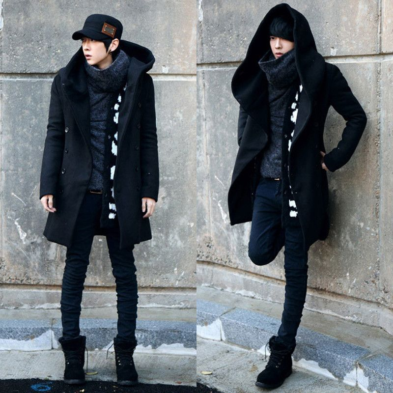2017 New arrival men's winter wool&blend coat men double Breasted medium-long male thickening outwear  casual mens overcoat