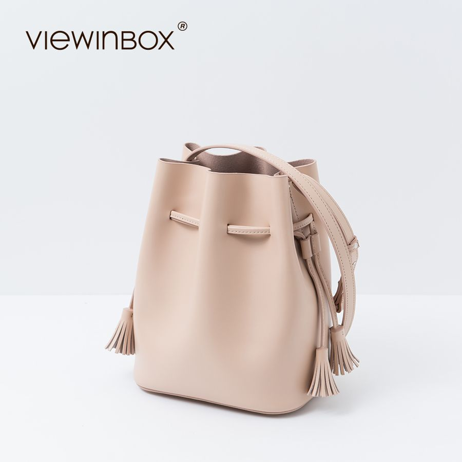 Viewinbox Bucket Bag Candy Color Fashion Women's Tassel Bucket Bag Casual Fringe Shoulder Crossbody Messenger Drawstring Bag