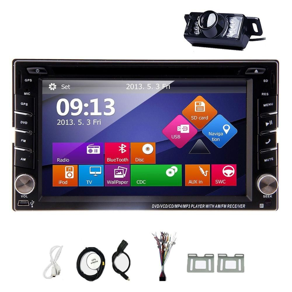 Double 2Din Car In Dash Stereo GPS Navigator Bluetooth Radio USB+Camera Car styling cassette tape recorder PC In Center console
