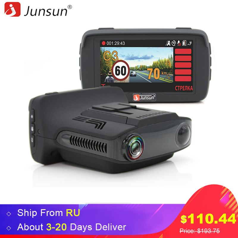Junsun L2 Ambarella A7 Car DVR Camear Radar Detector Gps 3 in 1 LDWS HD <font><b>1080P</b></font> Video Recorder Registrar Dashcam Russian Language