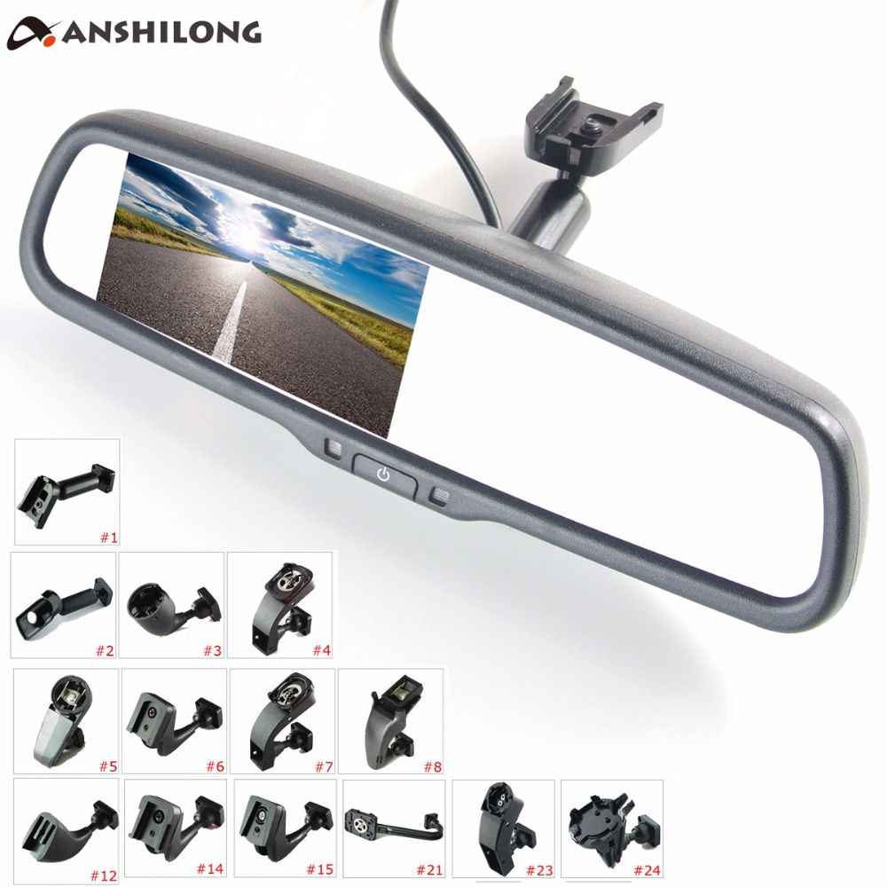 ANSHILONG 4.3 TFT LCD <font><b>rear</b></font> view mirror car monitor video input 2Ch with a special mounting bracket