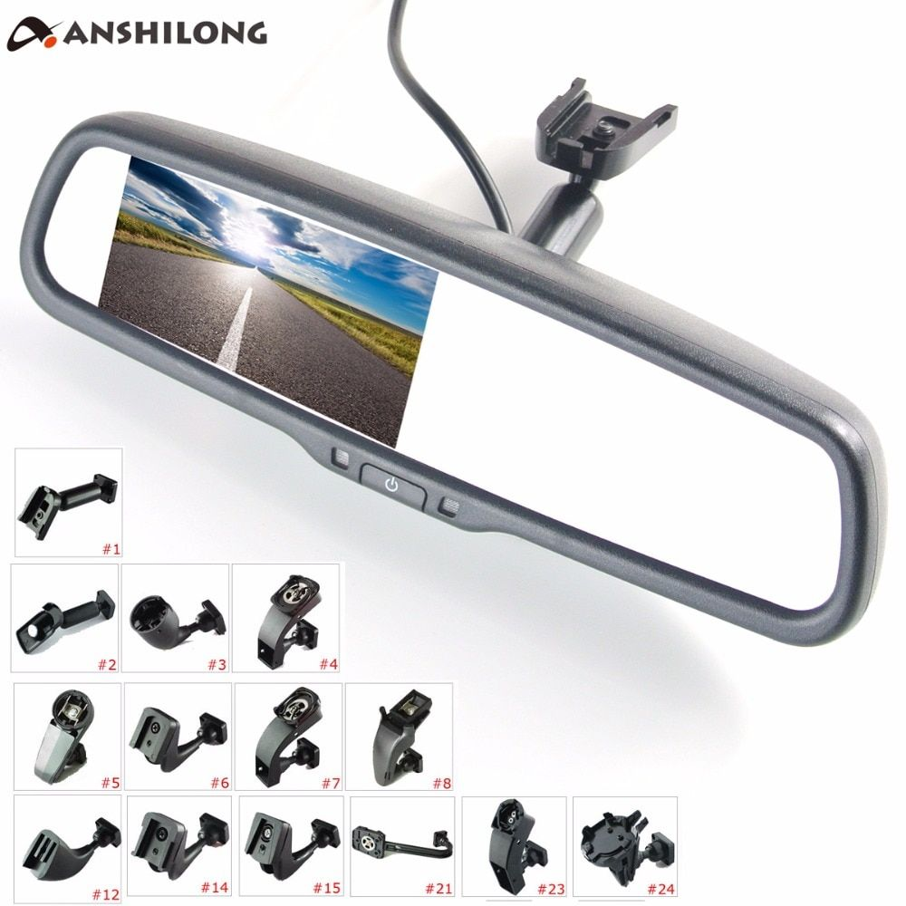 ANSHILONG 4.3 TFT LCD rear <font><b>view</b></font> mirror car monitor video input 2Ch with a special mounting bracket