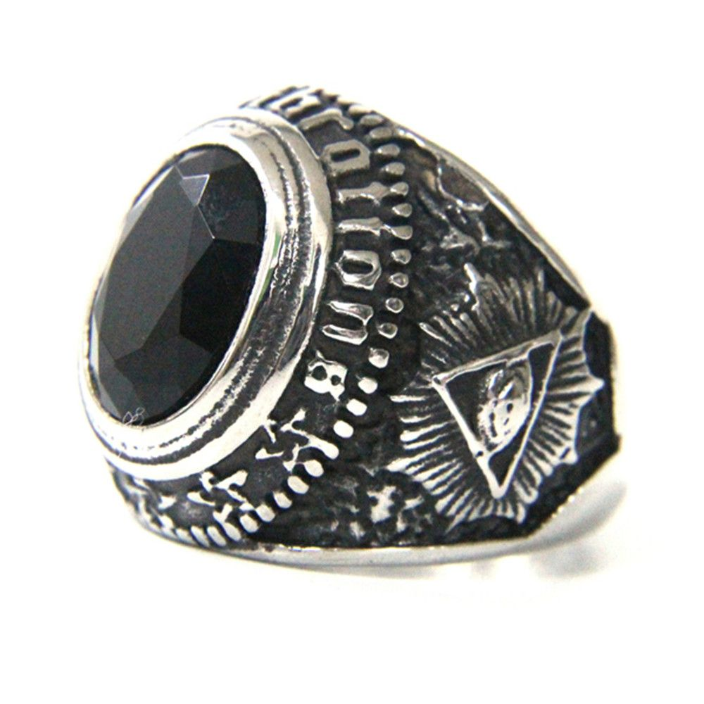 Support Dropship Black Stone Eye Ring 316L Stainless Steel Jewelry Fashion Hot Selling Ring