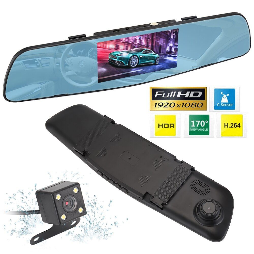 Full HD 170 Degree 4.3'' Screen Car DVR Recorder with Two Cameras Mini Dual Lens Camera Car DVR Video Recorder Parking R