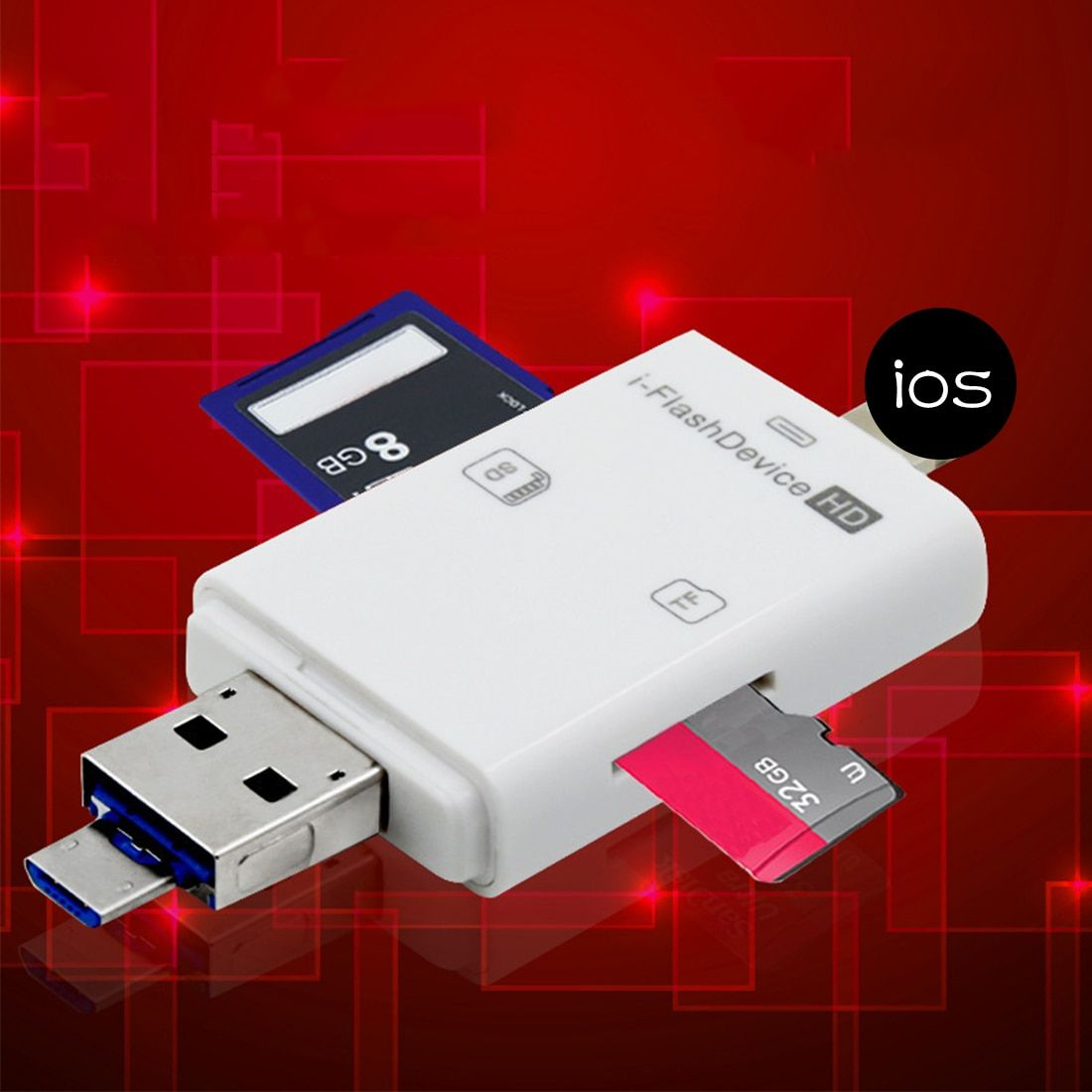 NOYOKERE 3in1 Micro USB Reader Micro SD SDHC TF SD Card For iPhone 5/5s/6/6 7 plus/ipad pro air/Samsung/LG/HTC Andrid OTG Phones
