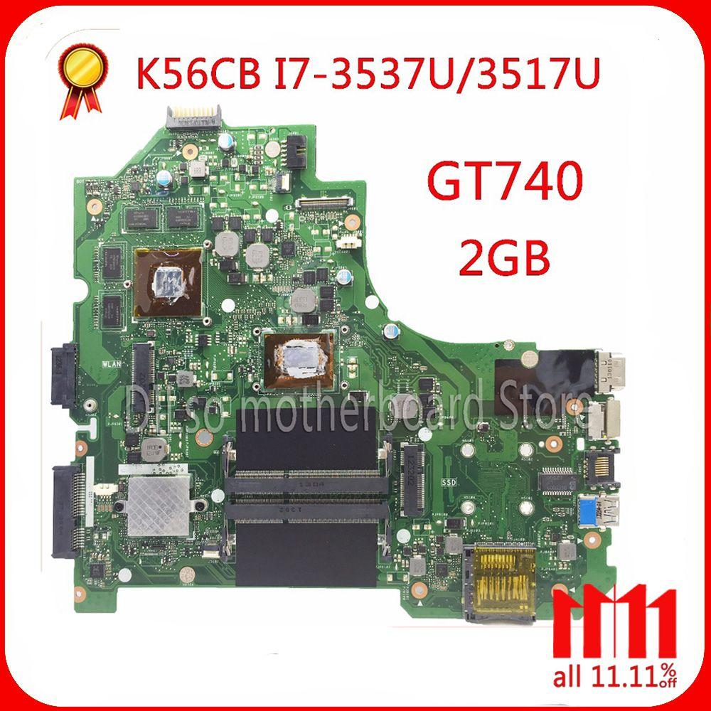 KEFU K56CM Pour ASUS K56CB K56CM A56C S550CM Mère D'ordinateur Portable i7 CPU GT740 2 gb Carte Mère Test S550CD K56CM carte mère PM