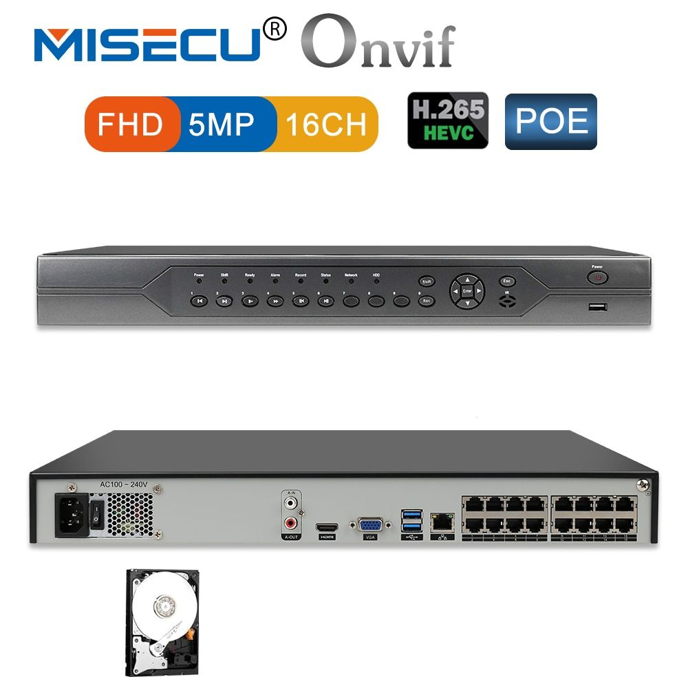 MISECU H.265 16CH 5MP 4MP 3MP 48V Real POE NVR XMEYE 802.3af P2P ONVIF Network Video Recorder for POE IP Camera CCTV System