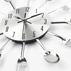 Cutlery Metal Kitchen Wall Clock Spoon Fork Creative Quartz Wall Mounted Clocks Modern Design Decorative Horloge Murale Hot Sale