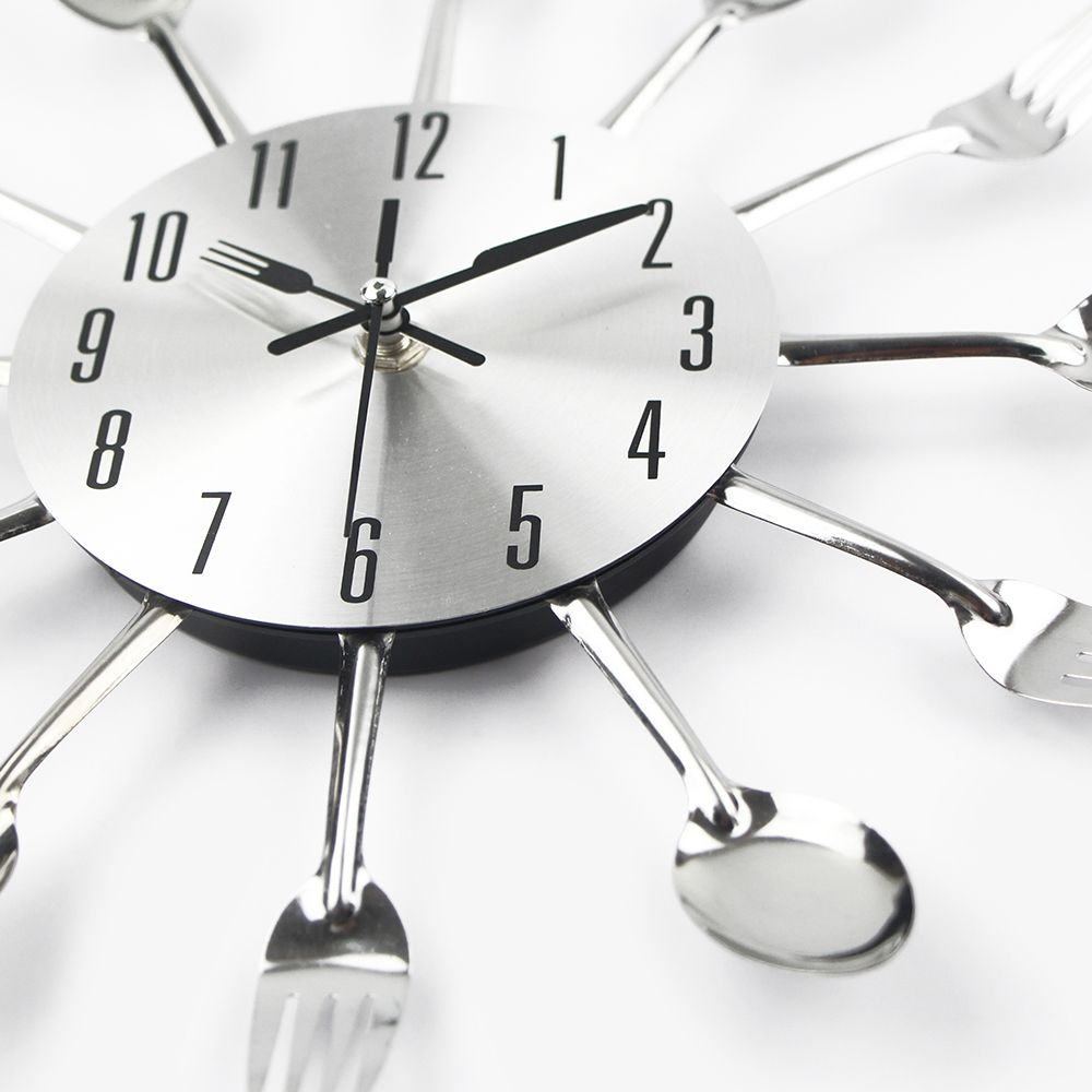 Cutlery Metal Kitchen Wall Clock Spoon Fork Creative Quartz Wall Mounted Clocks Modern Design Decorative Horloge Murale Hot Sale