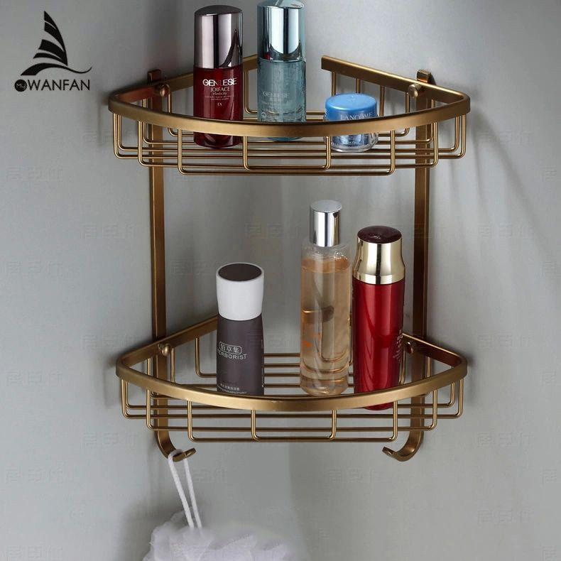 Полки для ванной 2 Слои под старину металла Душ углу полки настенное крепление шампунь стеллаж для хранения Ванная комната Корзина держател...