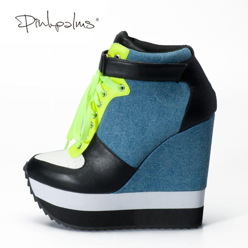 Rosa Palms 2018 Neueste Pumpen Frauen Schuhe High Heels Keil Schuhe Lace Up und Ankle Strap Damen Turnschuhe Denim Schuhe
