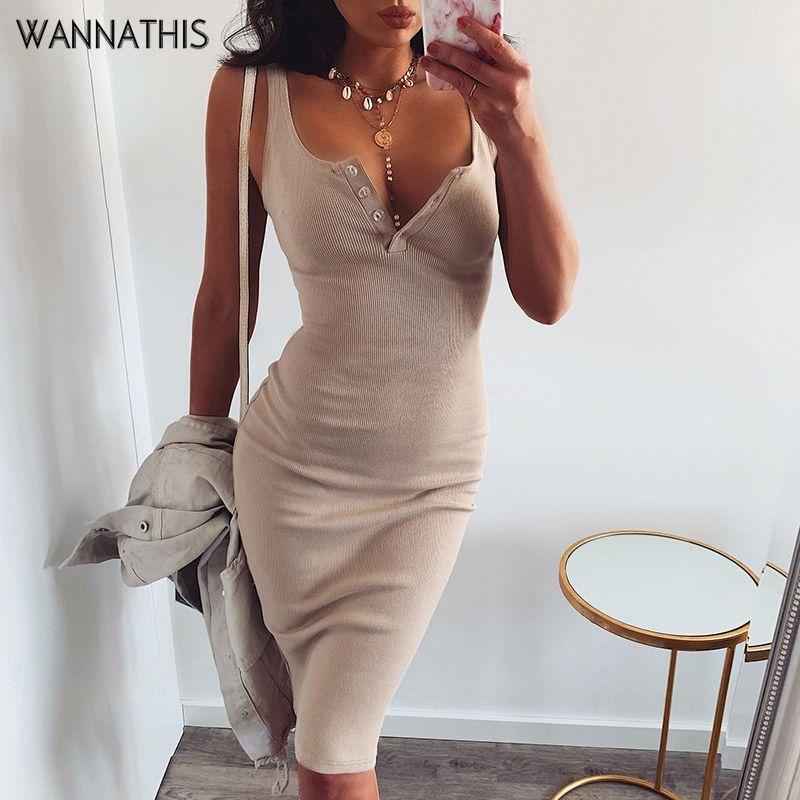 WannaThis genou-longueur robe tricoté élastique sans manches moulante femmes élégantes 2019 été Sexy col en v bouton fête Slim robes