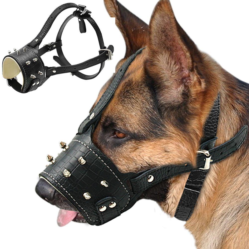 Museau de chien en cuir Pu clouté frais museau de chien Anti morsure rembourré museau de Traning pas d'écorce masque pour animaux de compagnie pour grand chien Pitbull Labrador