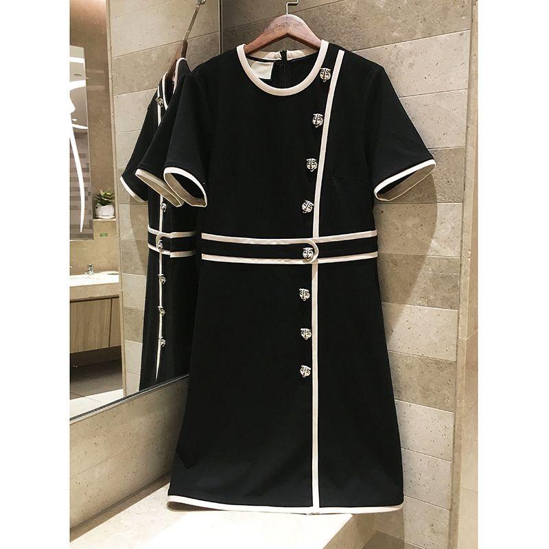 2018 women's autumn vintage button decoration black temperament elegant short-sleeved dress Professional woman dress