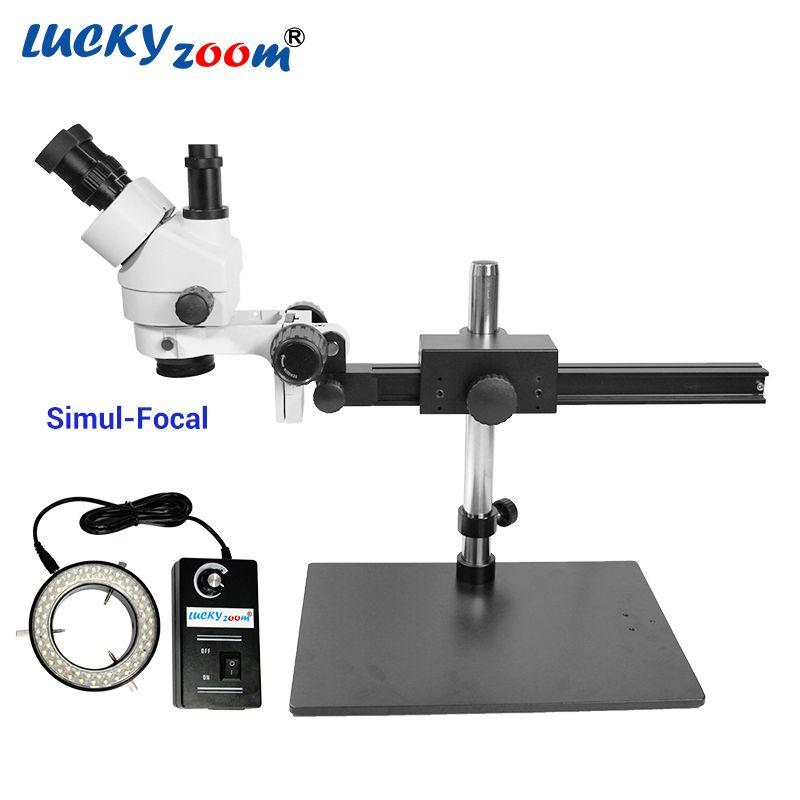 Luckyzoom 7X-45X Simul-Brenn Trinocular Stereo Zoom Mikroskop Flexible Stativ 60 Ring Licht Löten Telefon Microscopio
