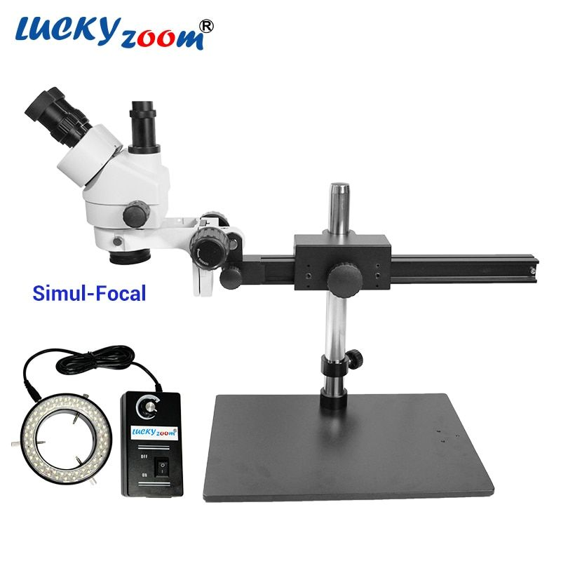 Luckyzoom 7X-45X Simul-Focal Trinocular Stereo Zoom Microscope Flexible Tripod Stand 60 Ring Light Soldering Phone Microscopio