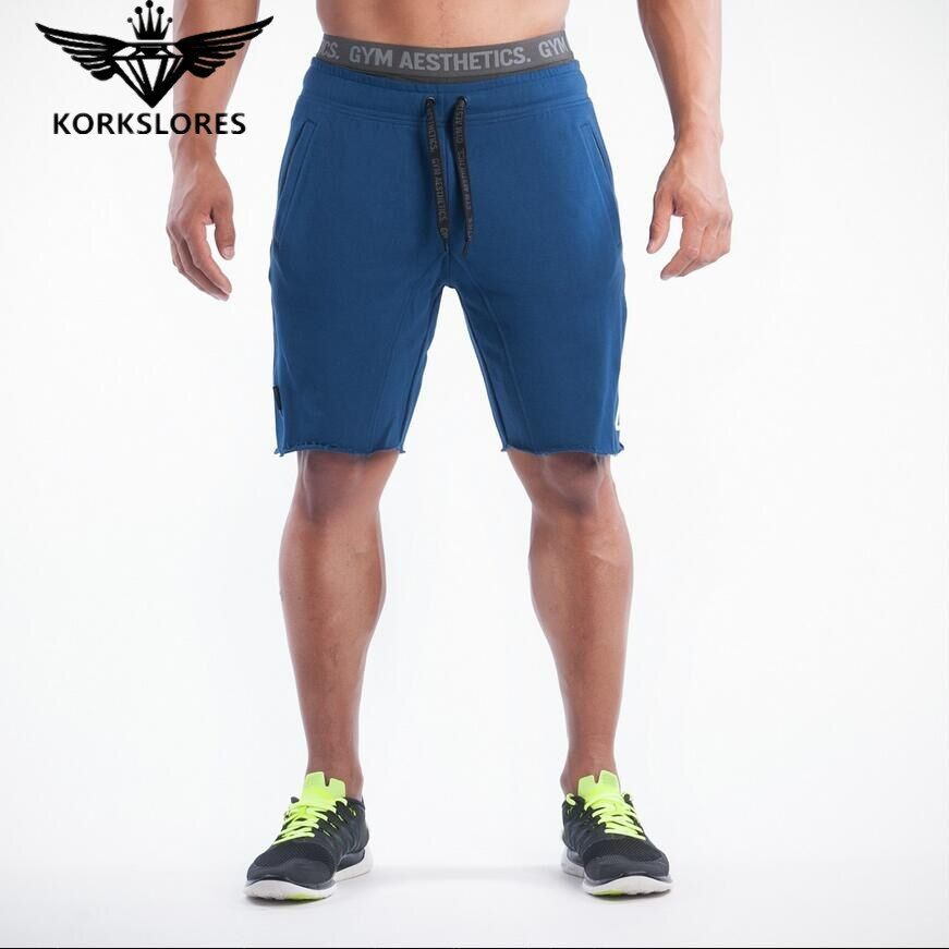 Korkslores Новинка 2017 года бренд высокого Качественный хлопок Для мужчин Шорты Бодибилдинг Фитнес вздох basketballrunning тренировки Jogger Шорты золотые