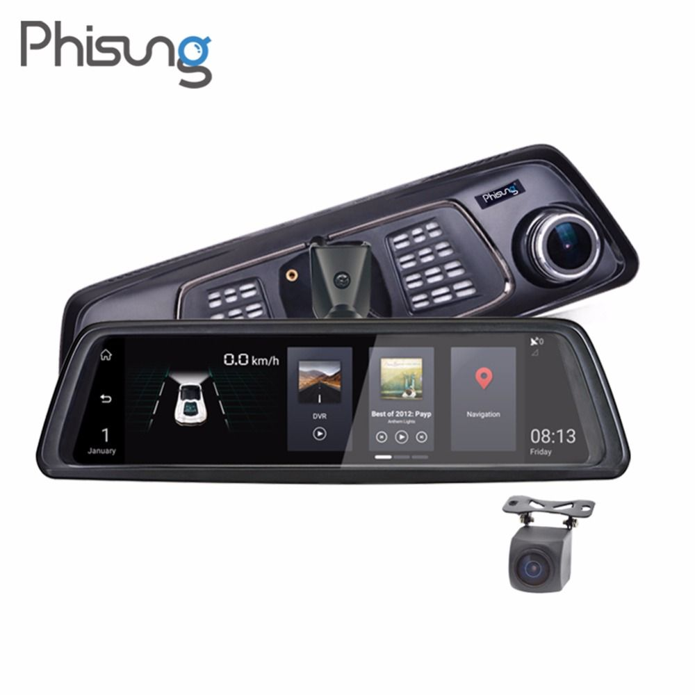 Phisung V9 4G Car DVR 10in Touch FHD 1080P Rear View Mirror Camera Night Vision Android GPS Dual Lens Dash Cam