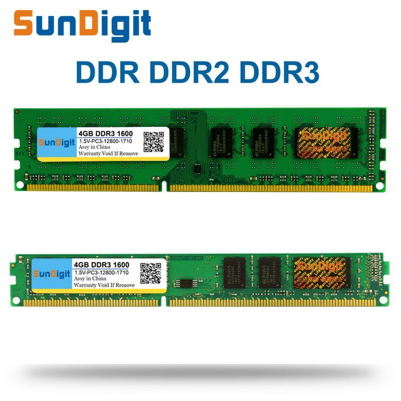 SunDigit DDR 1 2 3 DDR1 DDR2 DDR3/PC1 PC2 PC3 512 MB 1 GB 2 GB 4 GB 8 GB 16 GB Computer Desktop PC RAM Speicher 1600 MHz 1333 800 400