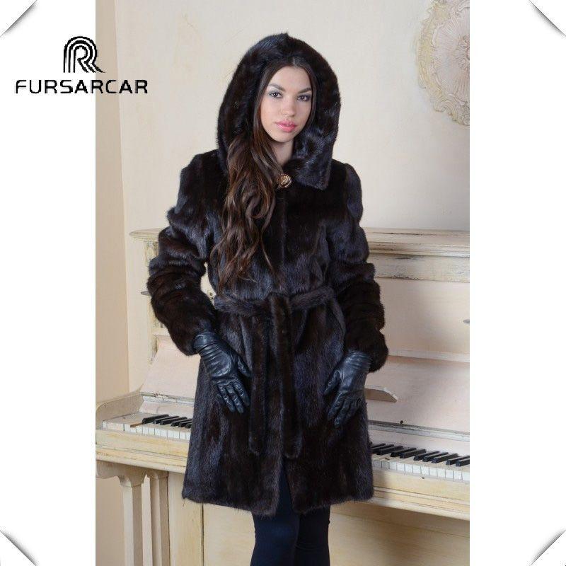 FURSARCAR Women Real Mink Fur Coat Winter Genuine Fur Coat With Hood 2018 Fashion New Luxury Mink Long fur jacket Black Mink fur