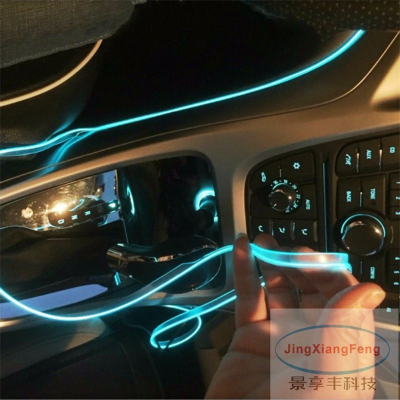 JingXiangFeng DIY Decoration 12V Auto Car Interior LED Neon Light EL Wire Rope Tube Line Party Weeding Decal 10 Colors 5M