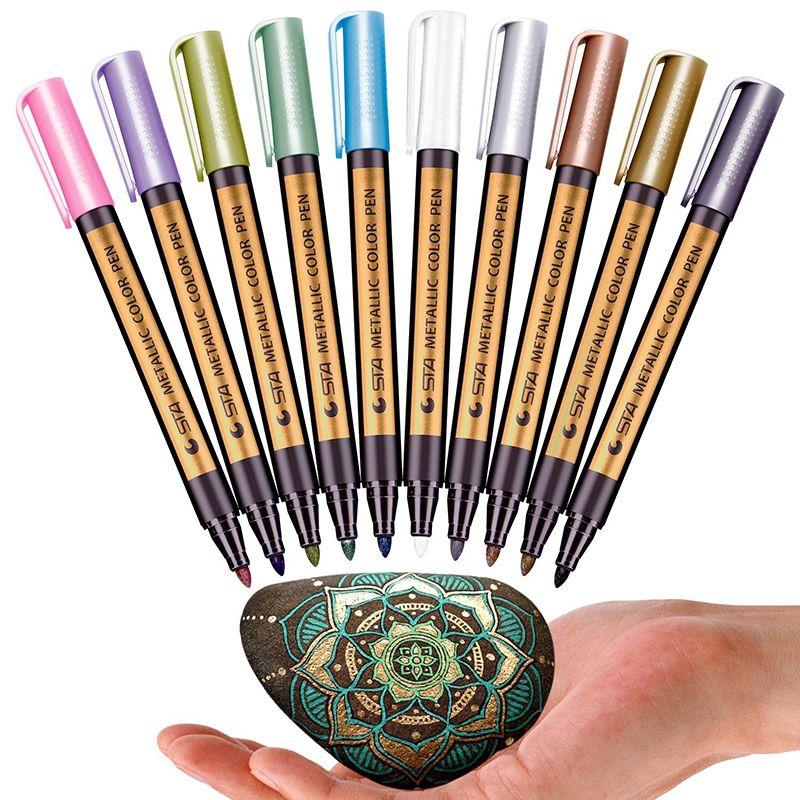 10 pcs/lot 10 couleurs métallique Permanent peinture à l'eau marqueur stylo pour anniversaire carte-cadeau en céramique verre plastique papier couleur marqueur