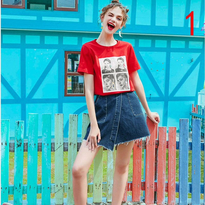 Fashionable short sleeved T-shirt woman summer outfit the new red bottom garment of the new red shirt dress summer jacket tide.
