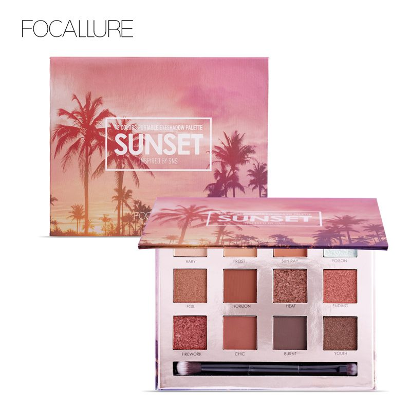 FOCALLURE Eyeshadow Palette 12 <font><b>Colors</b></font> Makeup Eye Shadow Matte Shimmer Shining Nude Make up Glitter Pigment