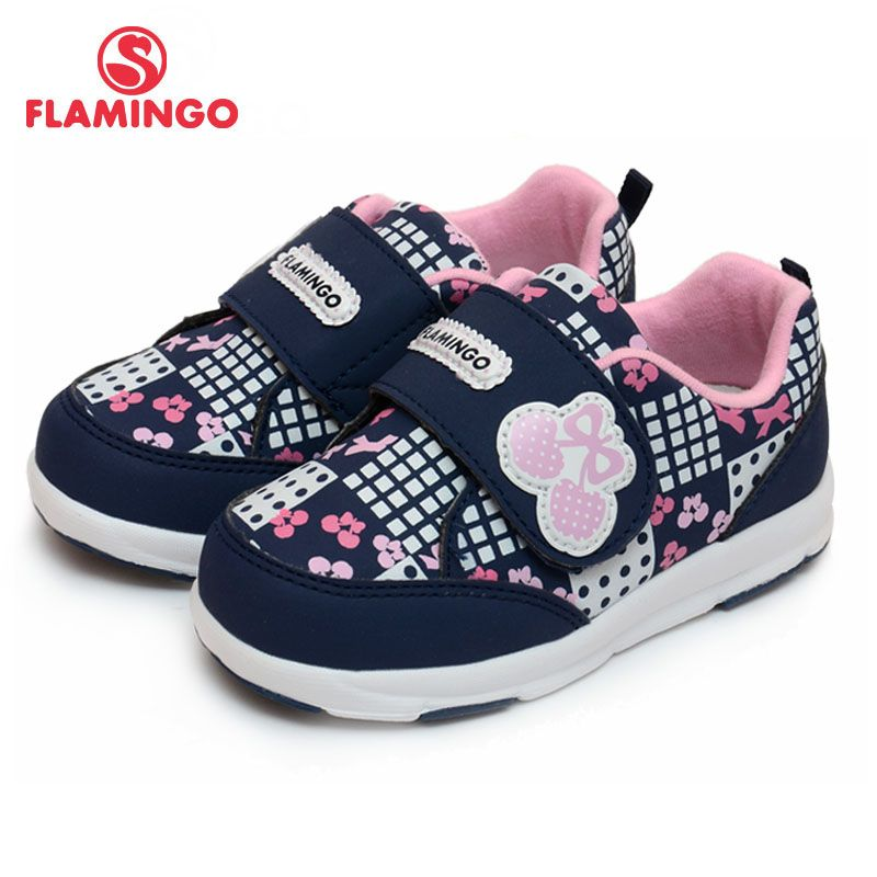 FLAMINGO Russian Famous Brand 2017 Cartoon Printing Children Shoe Hook & Loop Breathable Walking Shoe for Girl 61-NK101/61-NK102