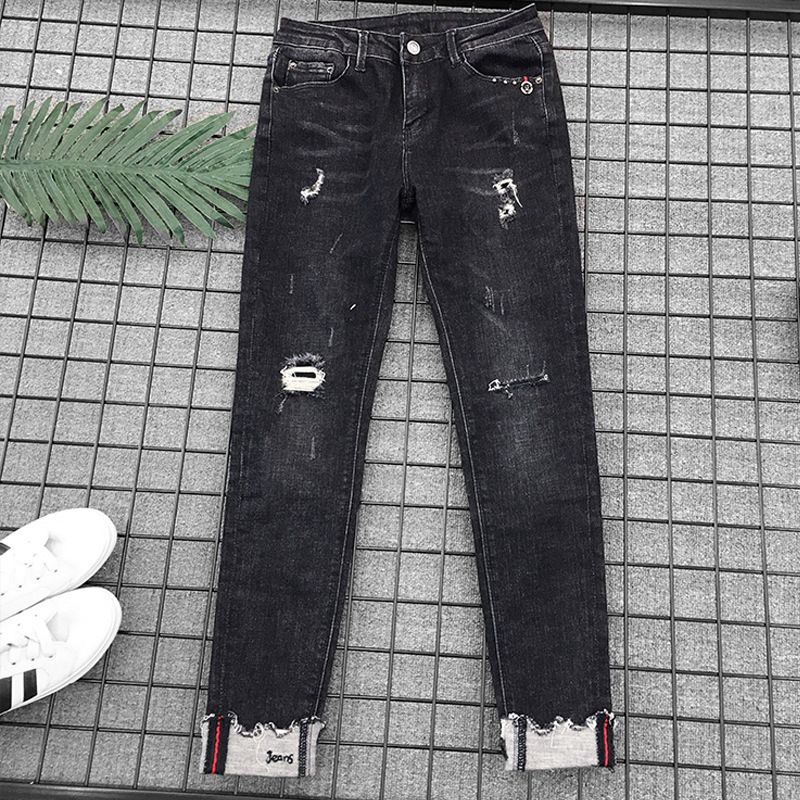 2018 neue Mode Herbst Knöchel Länge Plus Größe Frauen Jeans Hohe Taille Loch Denim Hosen Elastische Dünne Dünne Jeans
