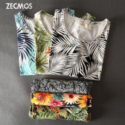 Zecmos Bunga Cetak T-shirt untuk Pria 2017 Musim Panas Baru T Kemeja Pria Pola Bunga Hawaii Fashion Atasan Kaos Kasual Merek Rompi pergi