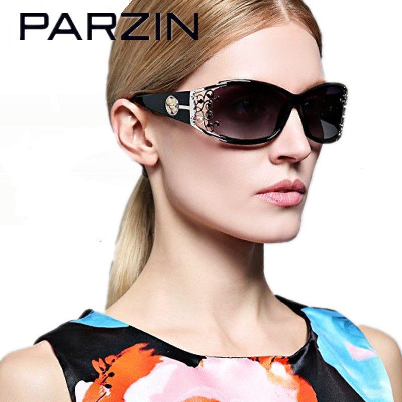 Parzin Sunglasses Women Polarized Elegant Lace Female Sun Glasses Sunglases Ladies Shades Oculos  Gafas With Case 9218 Black