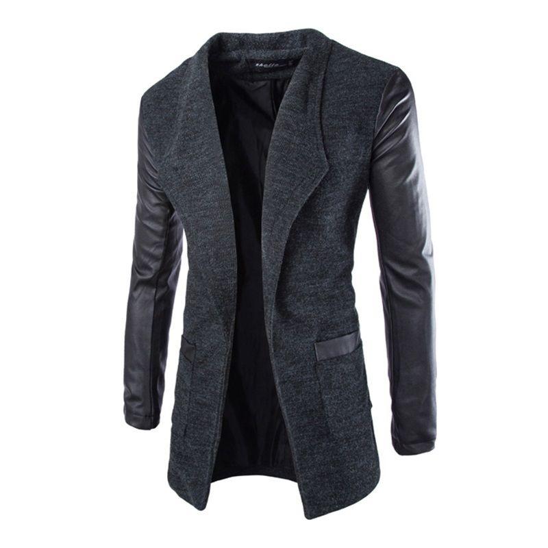 New Winter Fashion 2016 Leather Sleeve Long Wool Men Coat Hot Casual Slim Fit Men Jacket Coat Patchwork Solid Long Men Outwear