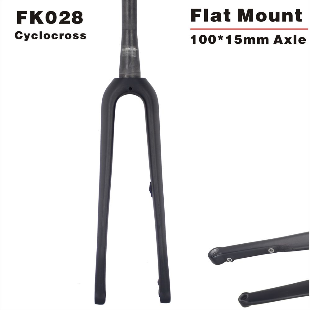 700*40C Max tyre Bicycle fork Carbon CycloCross Bicycle Fork 100*15mm axle disc Carbon Fork 700c Tapered Free Shipping